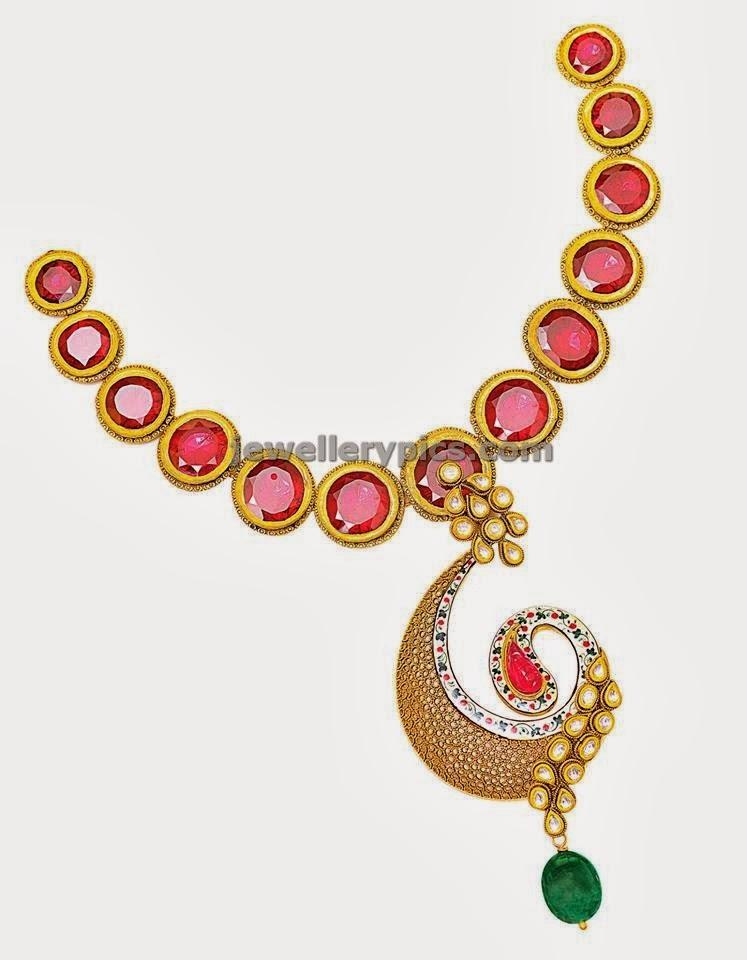 designer big ruby stone necklace contemporary jewellery