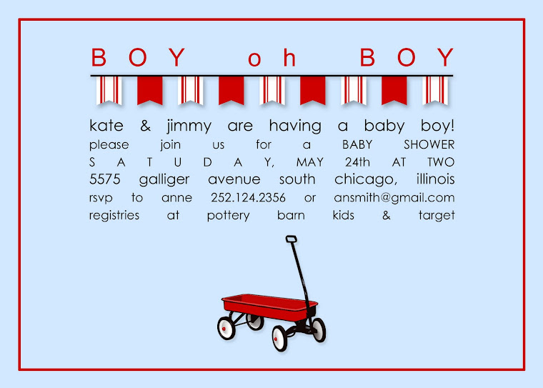 Little Red Wagon Baby Shower Inviitation