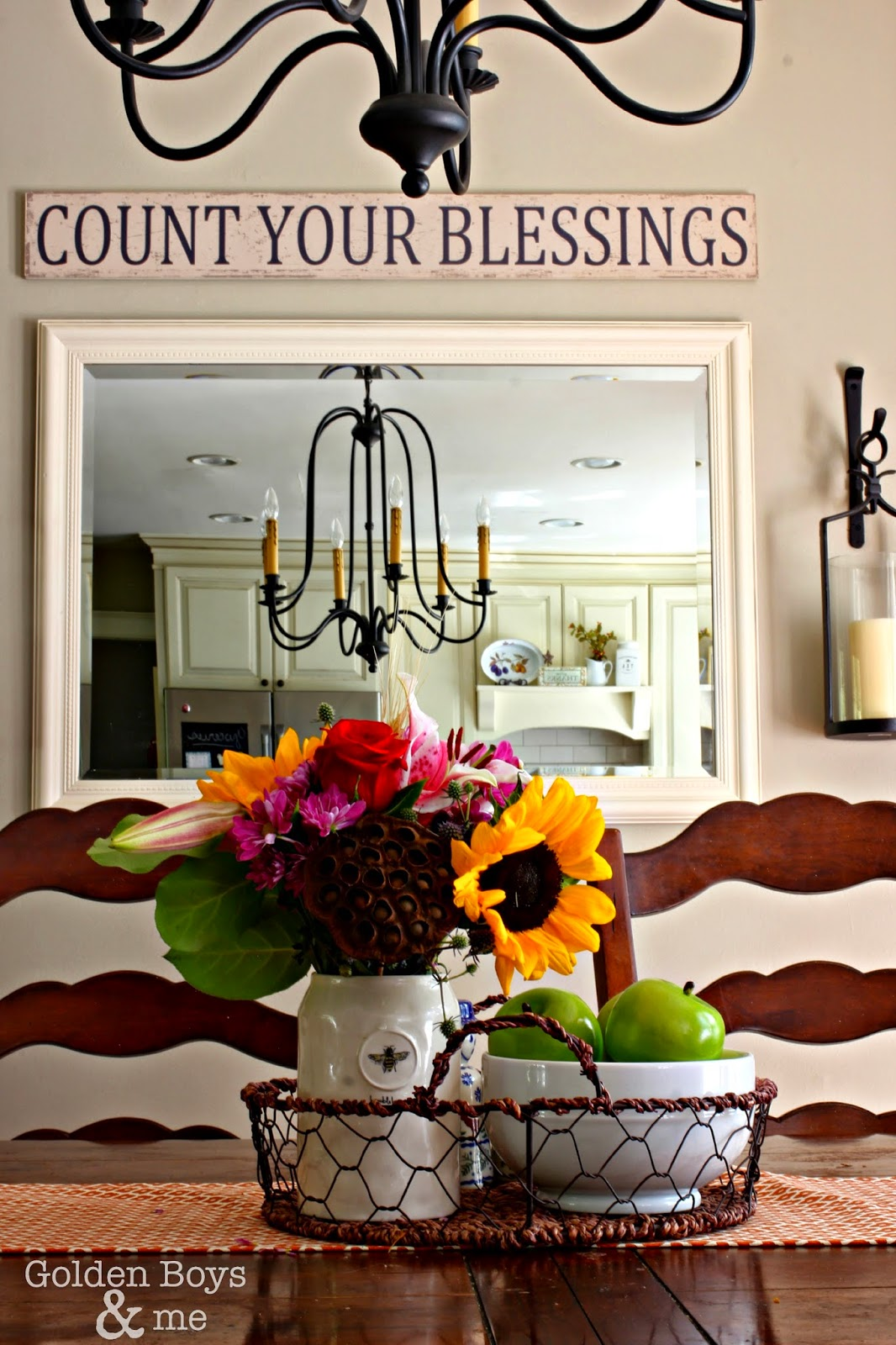 Fall decor in dining room with count your blessings HomeGoods sign-www.goldenboysandme.com