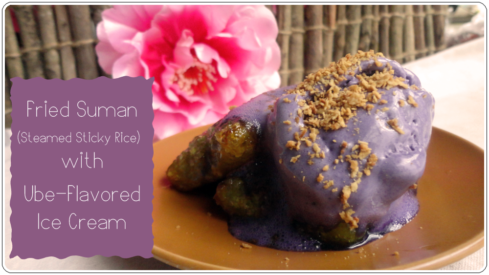 Fried Suman (Steamed Sticky Rice) with Ube Ice Cream
