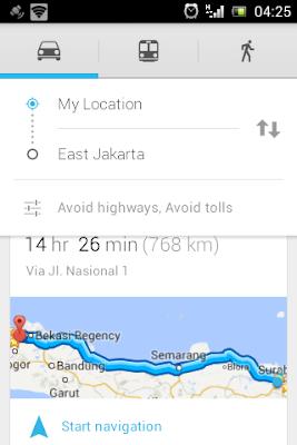 Pilih lokasi dimana navigasi dimulai dan Kendaraan yang ditumpangi
