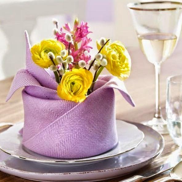 C mo decorar mesas para fiestas con servilletas y flores for Decoracion de servilletas