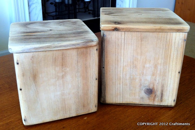 Craftiments.com:  Wooden canisters before staining
