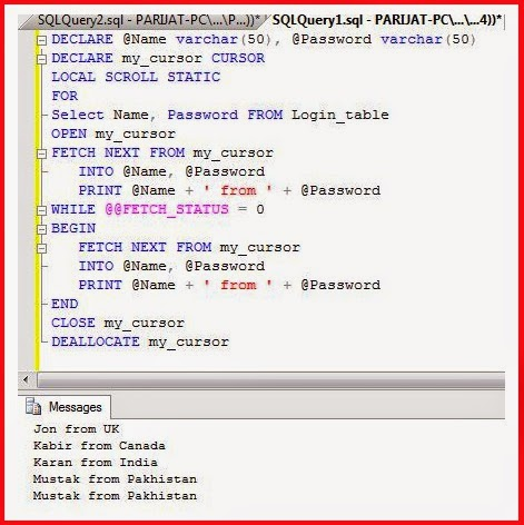 Sql server –Example of sql cursor with syntax