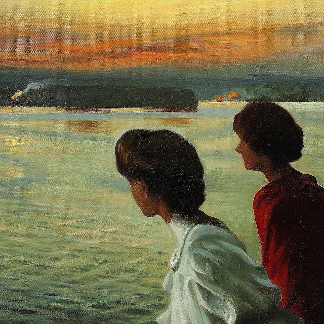 Udsnit fra Harald Slott-Møller: Sankt Hans - Tre unge damer nyder den lune sommeraften