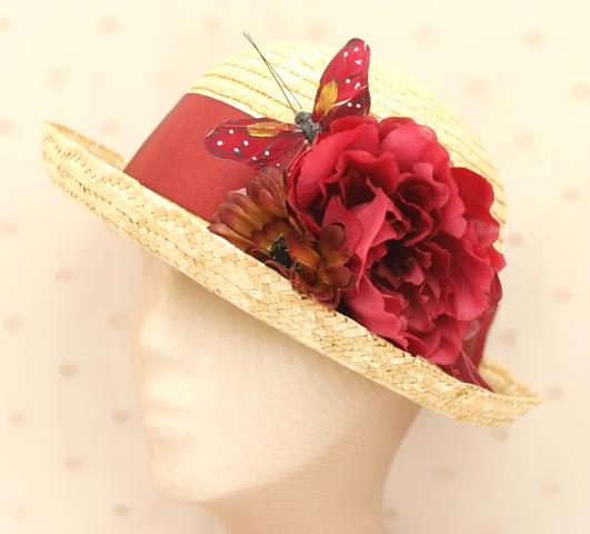 Colección Pedaleando - Canotier flor mariposa Granate