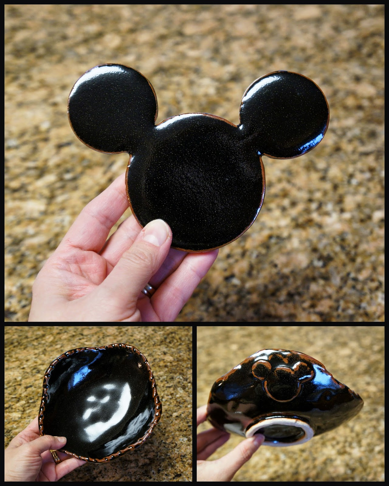 Unique handmade pottery / ceramic coaster and bowl with Mickey Mouse design.