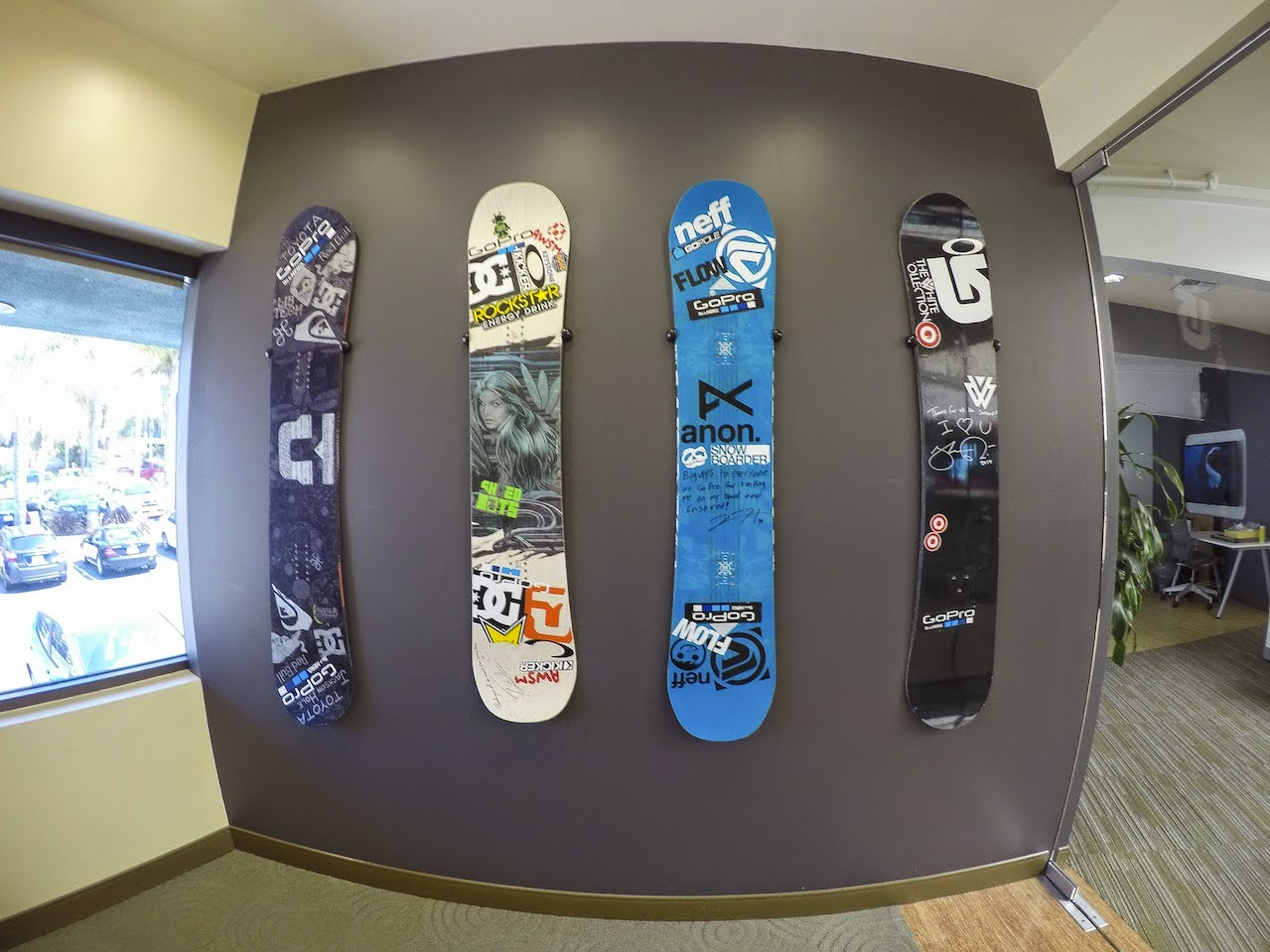 Storeyourboard blog snowboard deck wall mounts at gopro headquarters gopro office decoration amipublicfo Images