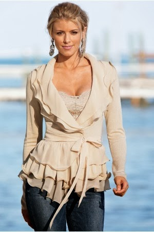 Skin Color Long Sleeve Blouse With Blue Jeans