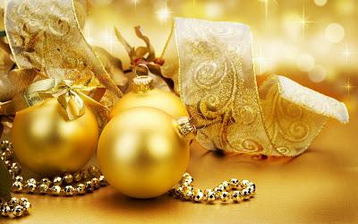 Wallpaper de esferas doradas para Navidad 1920x1200