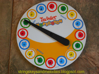 twister, hopscotch, musical games, musical note games, beginning music, beginning piano, movement activities, strings keys and melodies