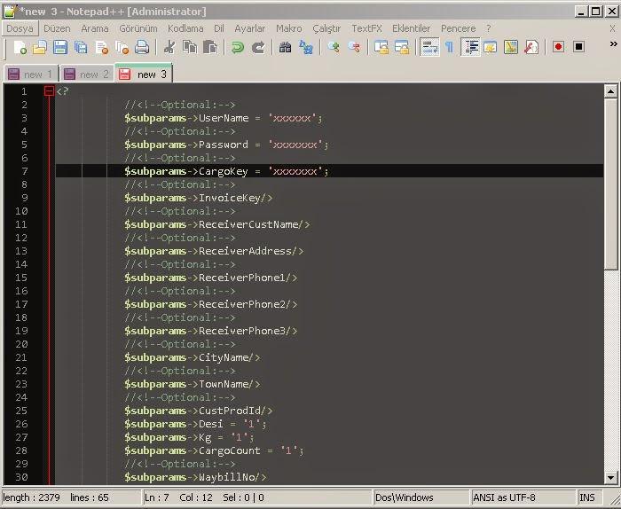 Notepad++ regular expression regex search düzenli ifade arama özelliği sonuç ekranı