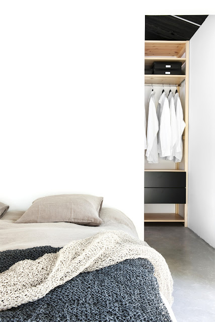 taupe bedding closet black drawers woven blankets