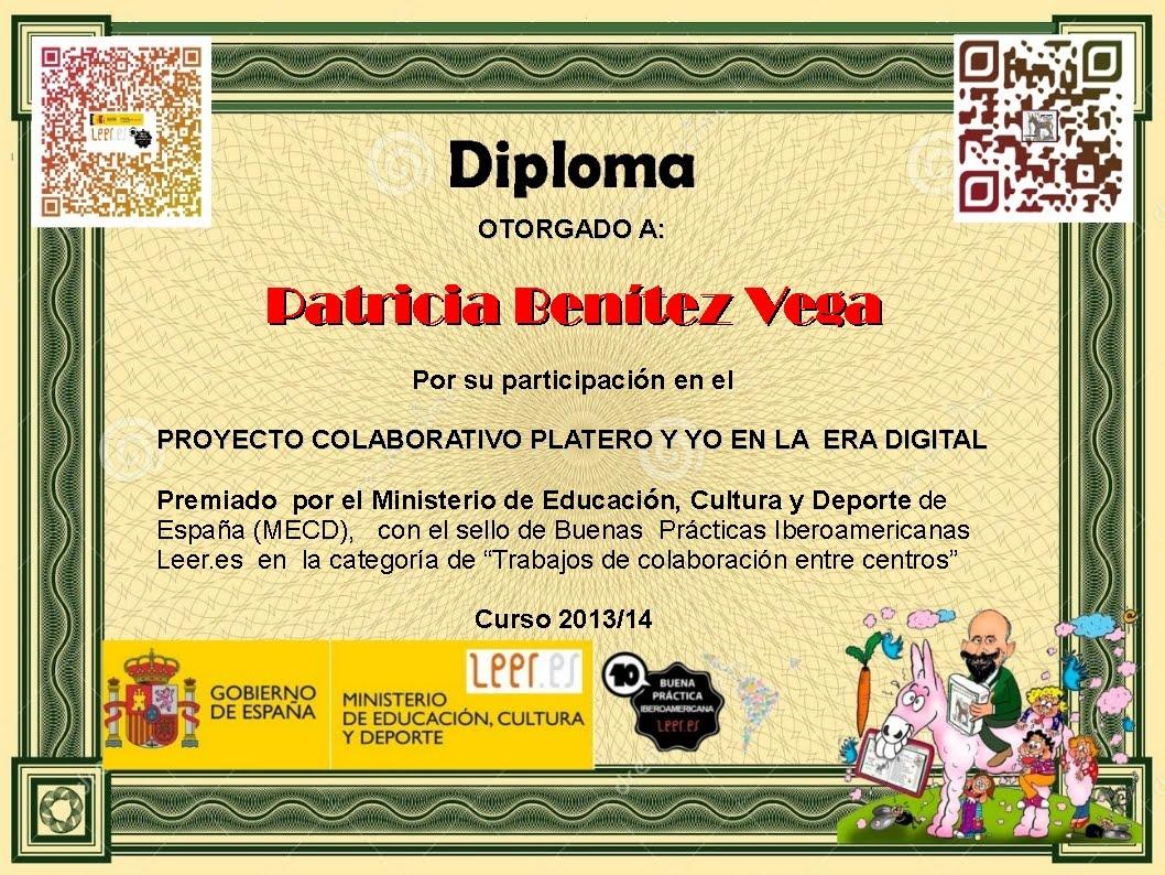 """Diploma de participación en el Proyecto """"Platero y yo en la era digital"""""""