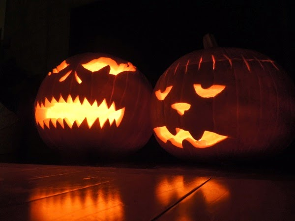 Glowing Halloween pumpkins