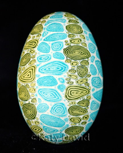Friday Egg: Refraction Shift ©Katy David, Goose Egg Pysanky in Blue and Green, April 2015