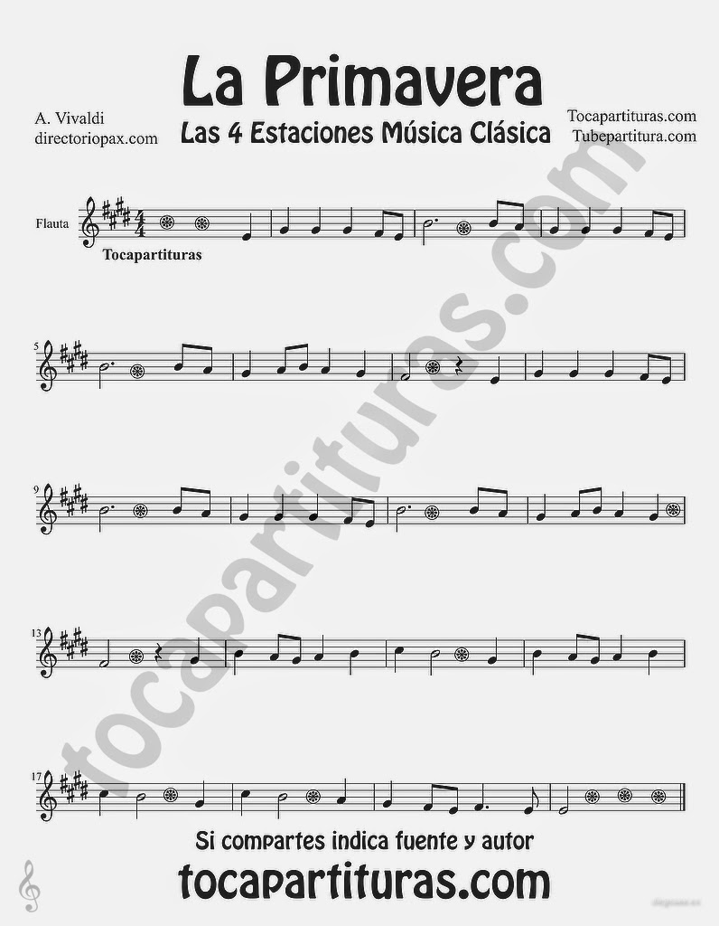 Tubescore Spring from the Four Seasons Sheet Music for Flute by Antonio Vivaldi