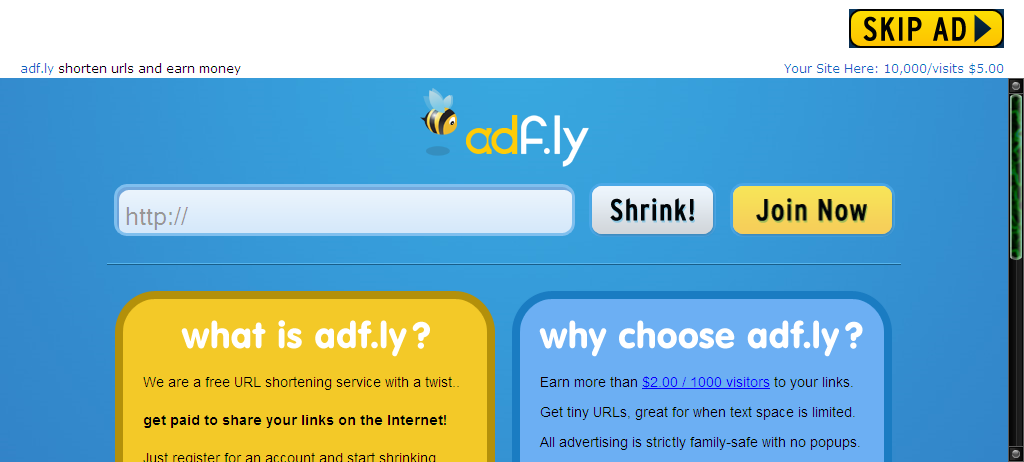 adf ly shrink your urls and get paid