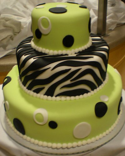 Lime Green Zebra Cake Thanks for checking in Wedding Cakes by Dawna