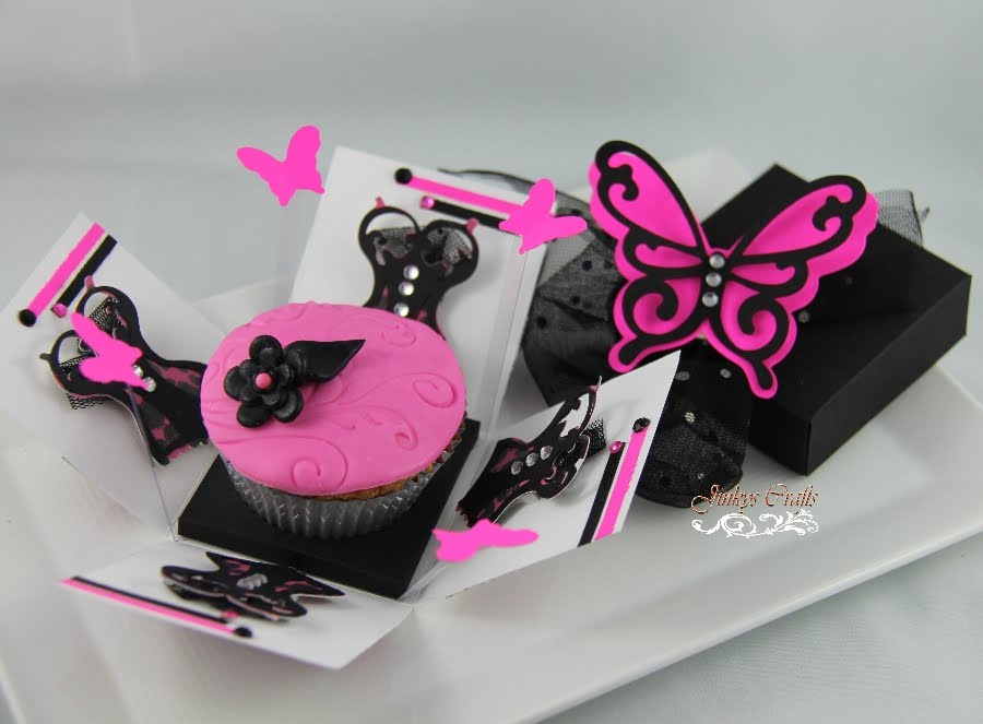 One of the designs I will be exhibiting is the Cupcake Exploding Box. This is for 15th Birthday/ 15 Años/Quinceañera thatu0027s why I used the Hot Pink and ... & Cupcake Exploding Boxes u0026 Bags - Jinkys Crafts Aboutintivar.Com
