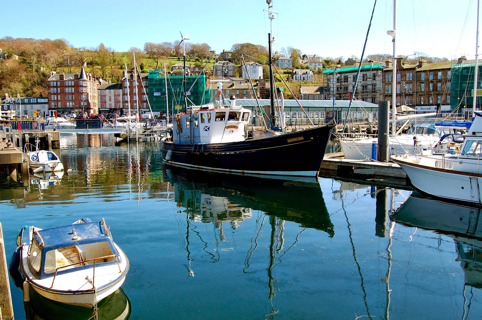 Boats in Rothesay's harbor