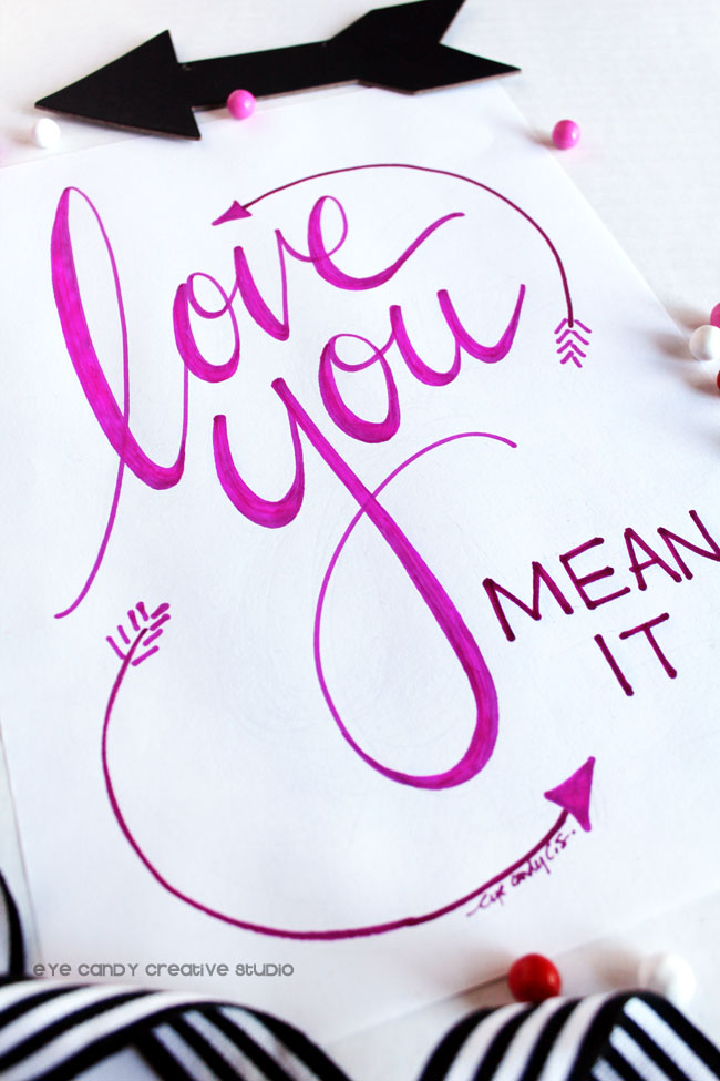 hand lettered art print, hand lettering, valentines art, love you art, word art