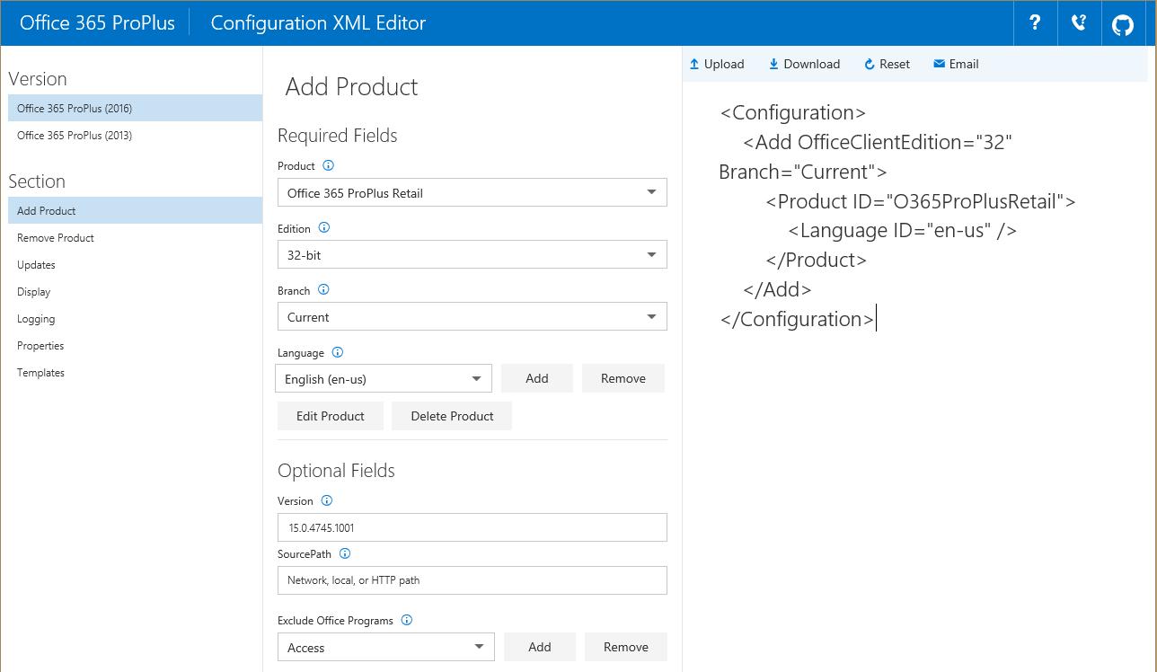 article online office 365 proplus configuration xml editor itninja
