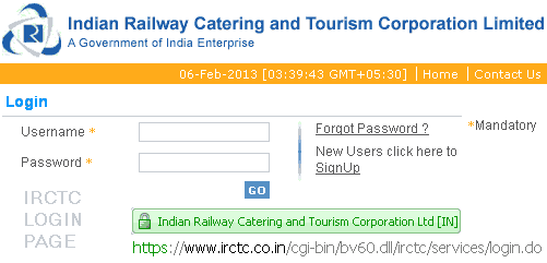irctc ticket booking login page