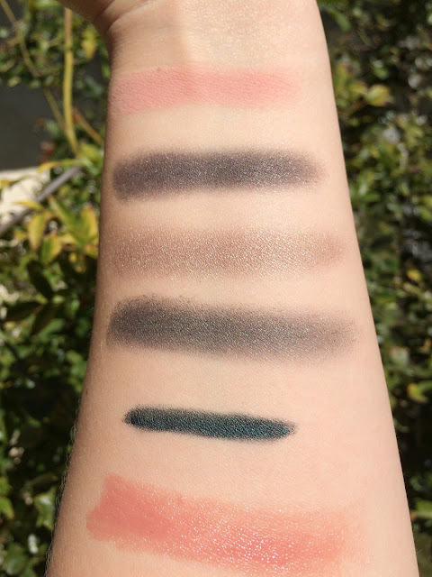 Chantecaille Protect the Wolves Eye Shade Trio swatches, Chantecaille Ella swatches, Chantecaille Black Forest Swatches, Chantecaille Patience Lip Chic swatches