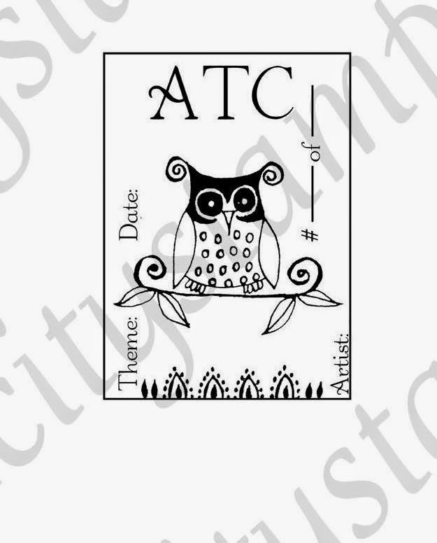 """Owl"" ATC Card Rubber Stamp"
