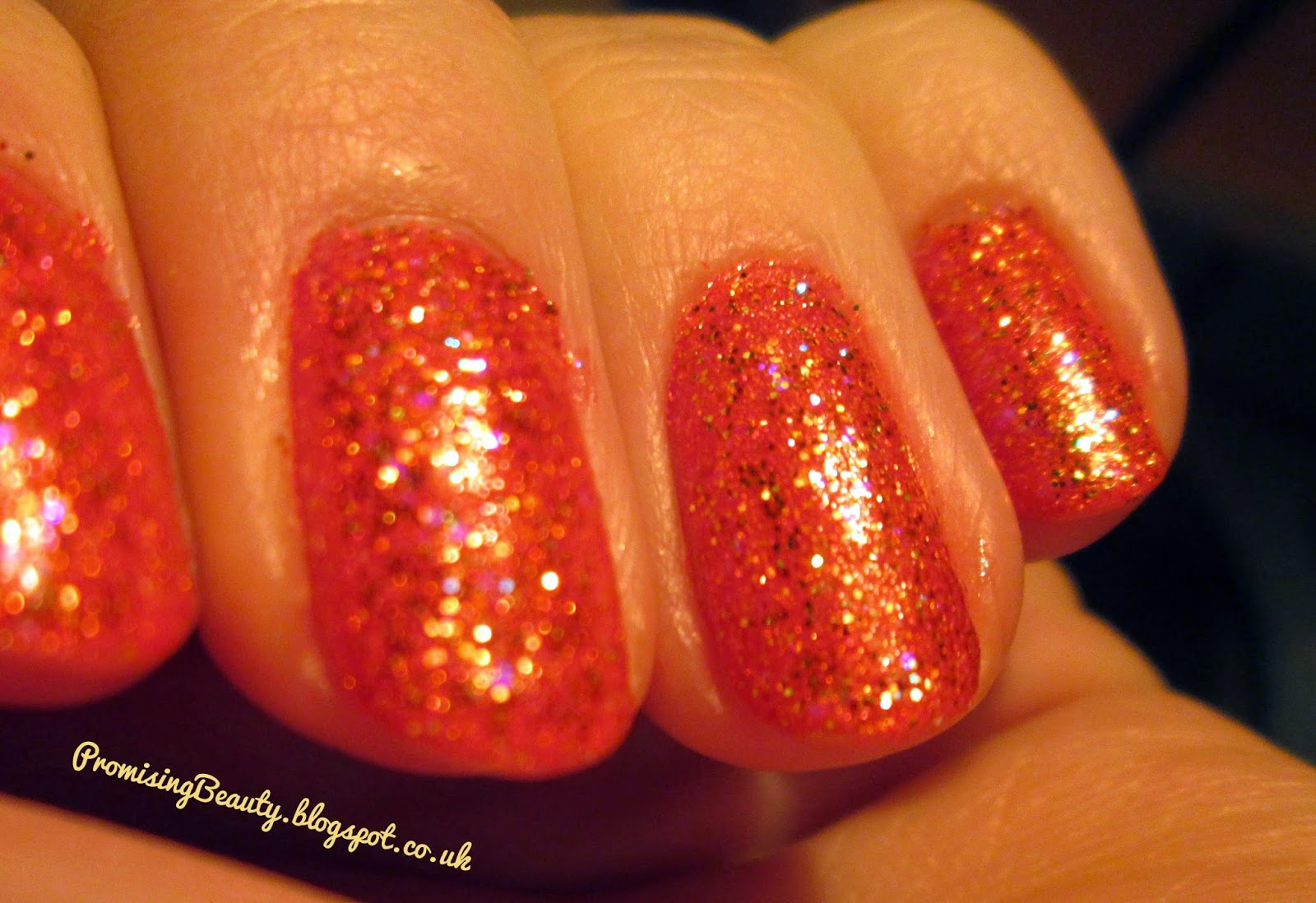 Glitter nail polish. Orange, copper manicure, Miss sporty 3D nail varnish