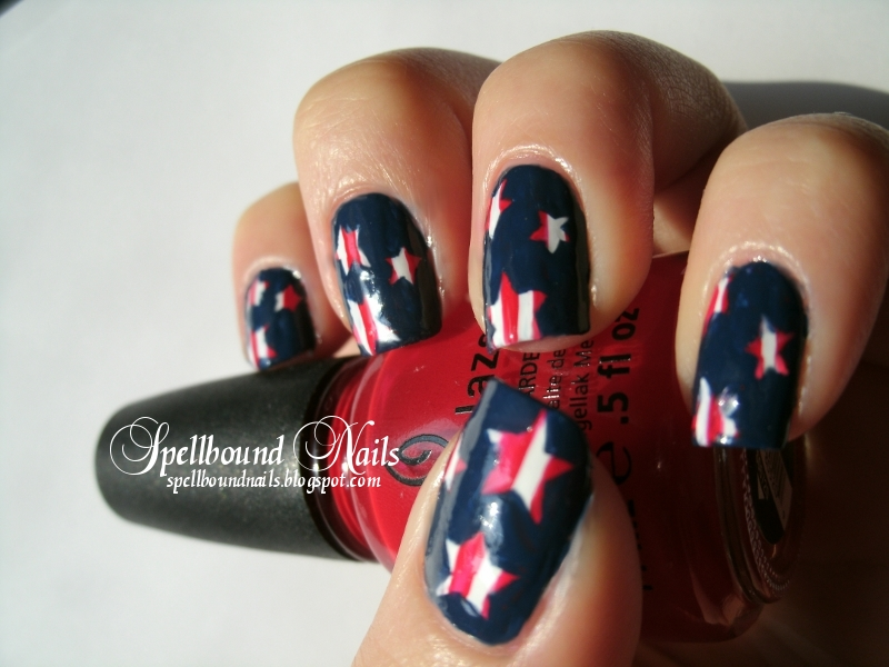 Memorial Day nail art nails stars stripes red white and blue