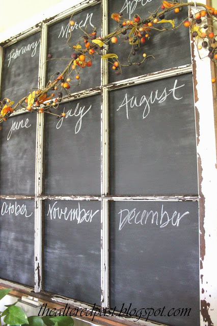 old window chalkboard calendar, spain hill farm blog