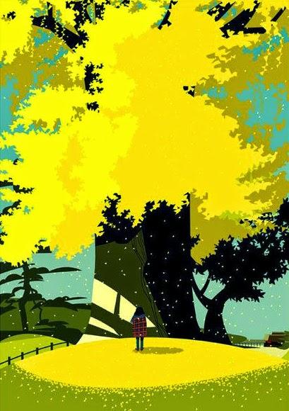 tree with yellow fall foliage illustration by Gaku Nakagawa