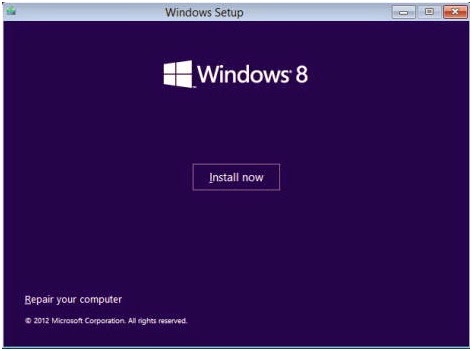 Menu Install Windows 8
