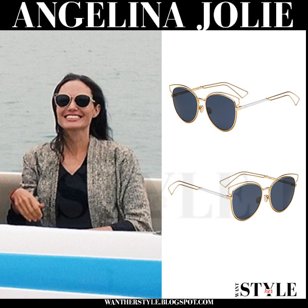 Angelina Jolie in round Dior sideral 2 sunglasses what she wore