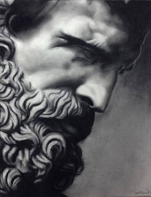 Roman statue, Silenus, charcoal, drawing, art battle, black and white