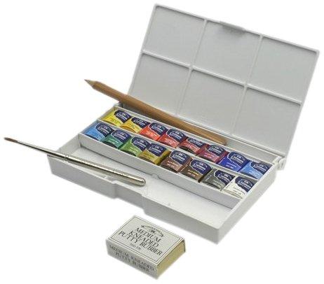 ウインザー&ニュートン コットマンウォーターカラー ハーフパン16色セット デラックス スケッチャーズポケットボックス