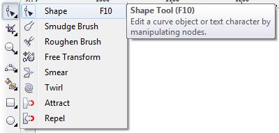 Mengenal bagian CorelDRAW - Shape Tool