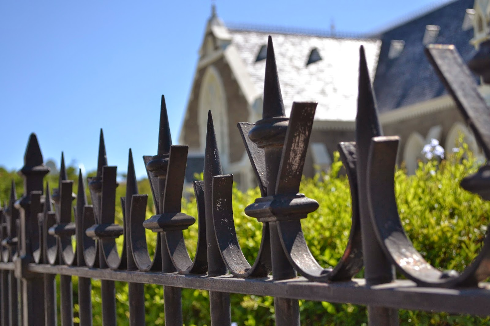Railings with church in background