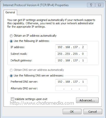 Cara Sharing Koneksi Internet Modem Dengan LAN