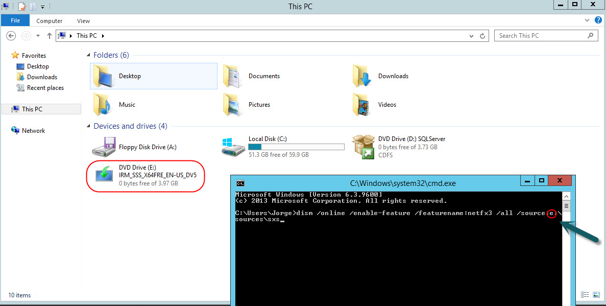 Command for Windows Server 2012