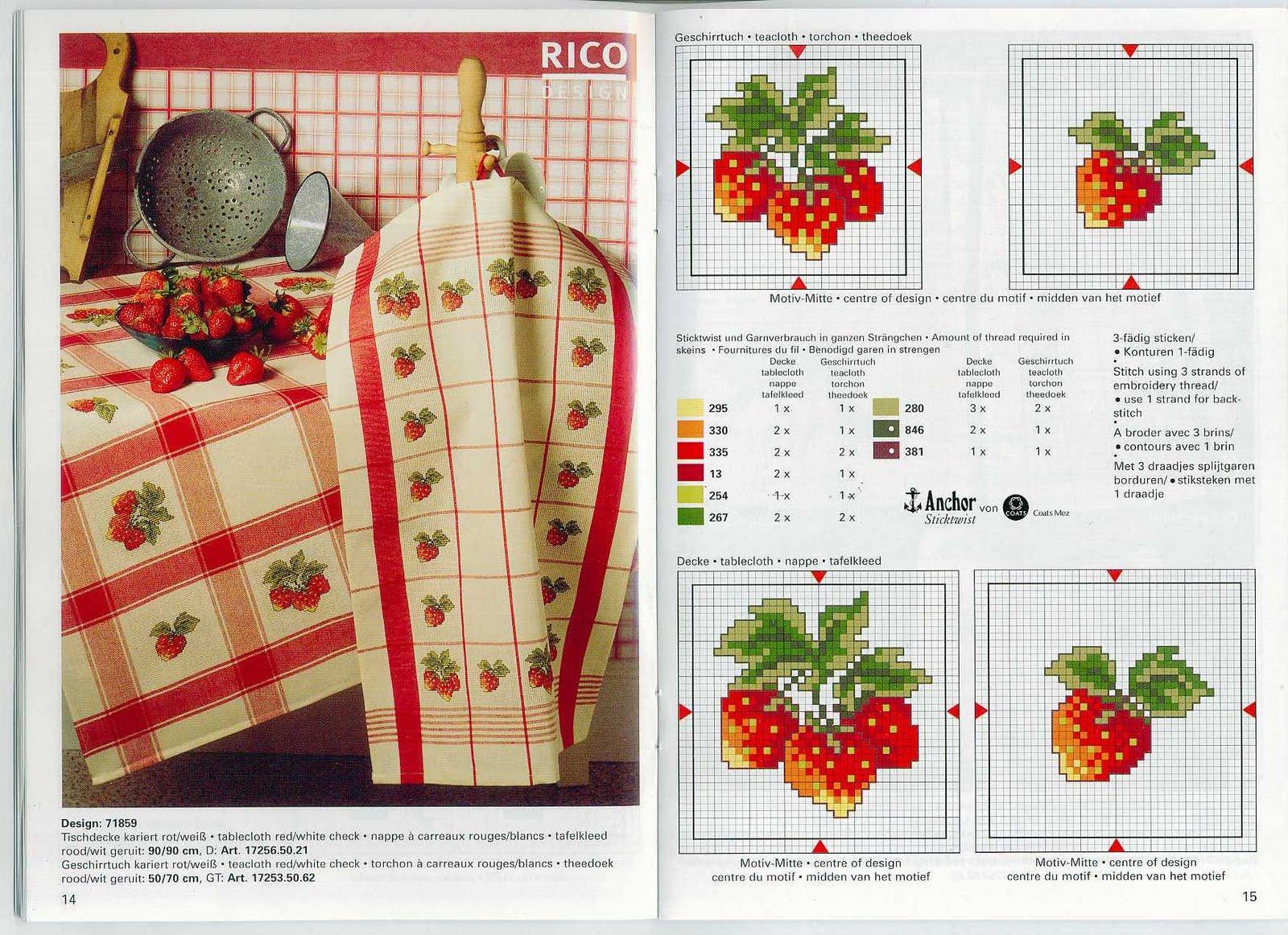 Вышивка крестом схемы ягоды клубники