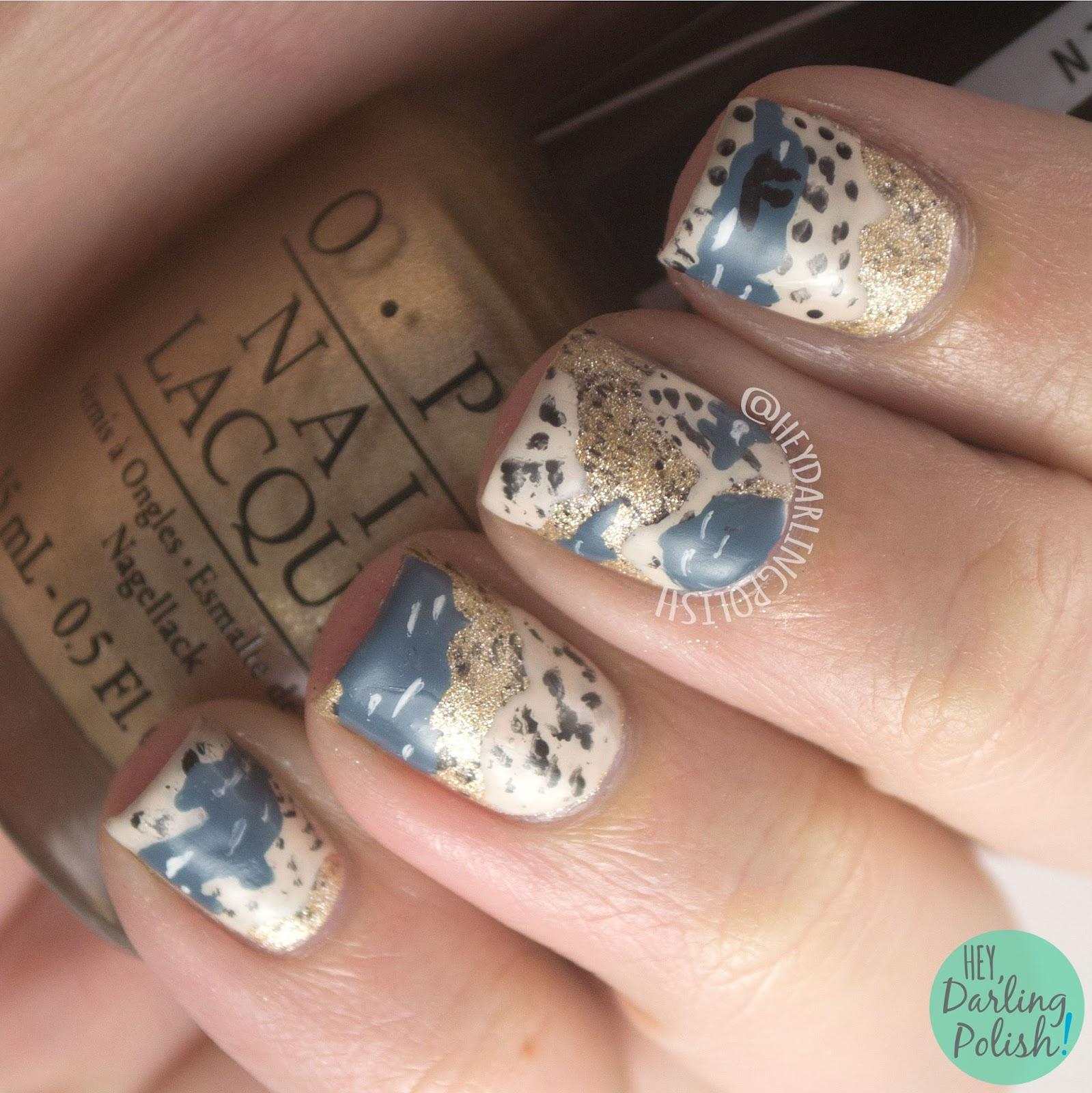 nails, nail art, nail polish, marshlands, hey darling polish, gold, tan, blue, the nail challenge collaborative, books,