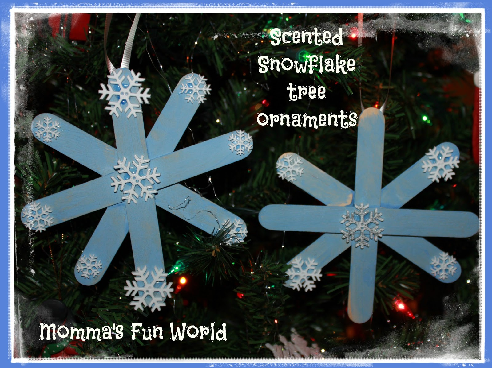 Snowflake ornaments crafts - Scented Snowflake Tree Ornament Made With Popsicle Sticks