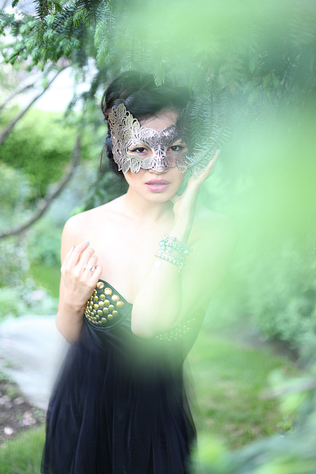 Jasmine Zhu Vancouver Fashion blogger for Posing in Vintage, masked style