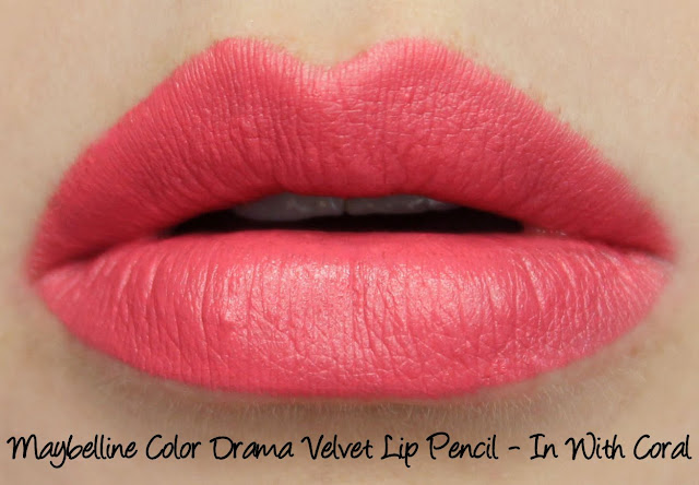 Maybelline Color Drama Lip Pencil - In With Coral Swatches & Review