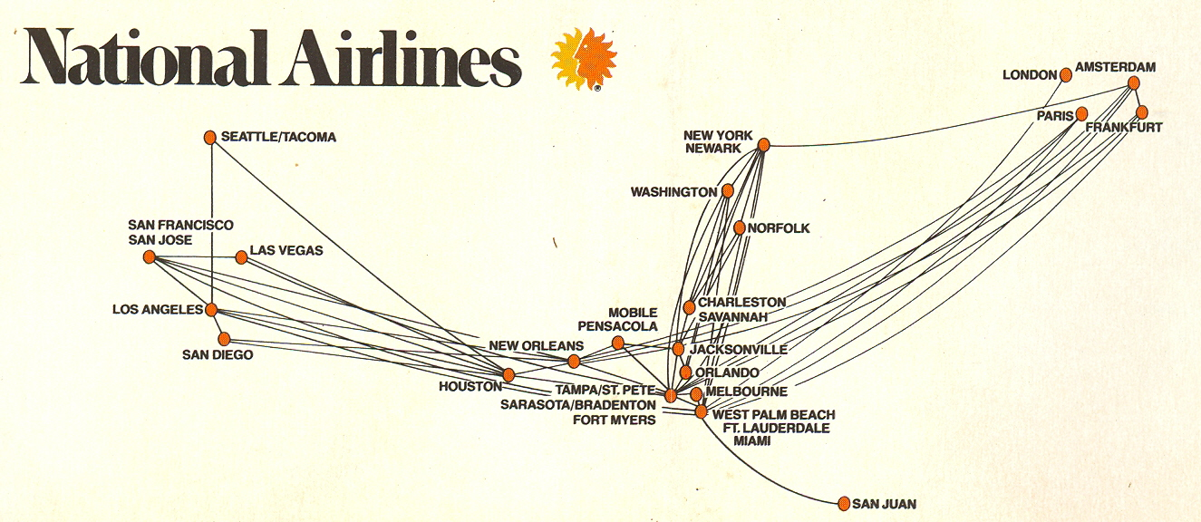 national airlines route map advertisement