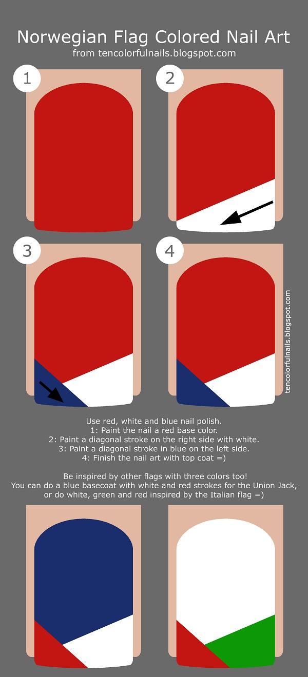 ten colorful nails norwegian flag colored nail art tutorial