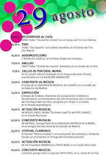 PROGRAMA DÍA 29 DE AGOSTO   Feria de San Agustín 2015  LINARES